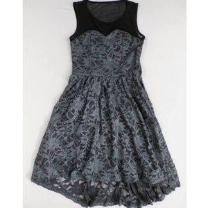 dELIA*s Illusion Foiled Lace Hi-Lo Silver Dress
